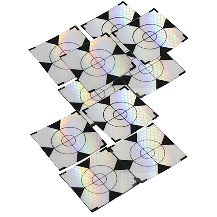 Self Adhesive 10 Pack of Paper Prisms 50x50mm - Retro Targets